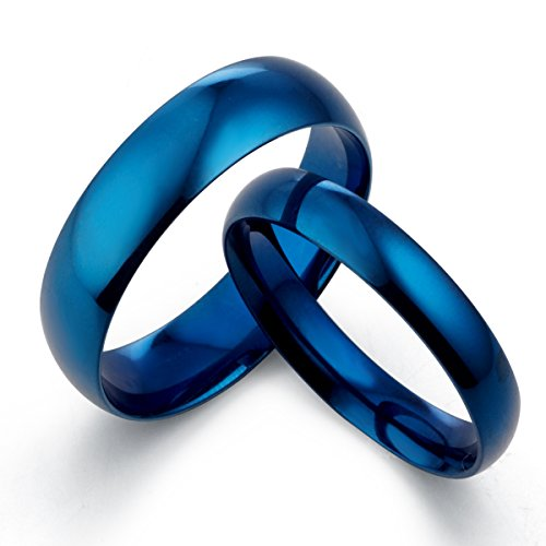 Gemini cúpula de 's azul polaco Promesa pareja boda anillo de titanio 6mm & 4mm Hombres Sz 15,5San Valentín