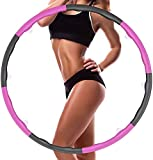 Weighted Hula Hoops for Adults Exercise Removable Multiple Assembly Design Professional Fitness Hula Hoop Brings Perfect Figure (8 Detachable Sections)