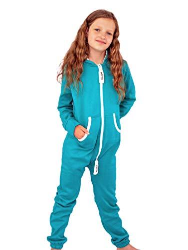 Gennadi Hoppe Kinder Jumpsuit Overall Jogger Trainingsanzug Mädchen Anzug Jungen Onesie,türkis,9-10 Jahre - 3
