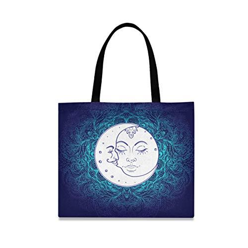 ALARGE Bolsa de lona tribal étnica con cara de sol, luna, grande, informal, para ir de compras, para mujeres y niñas