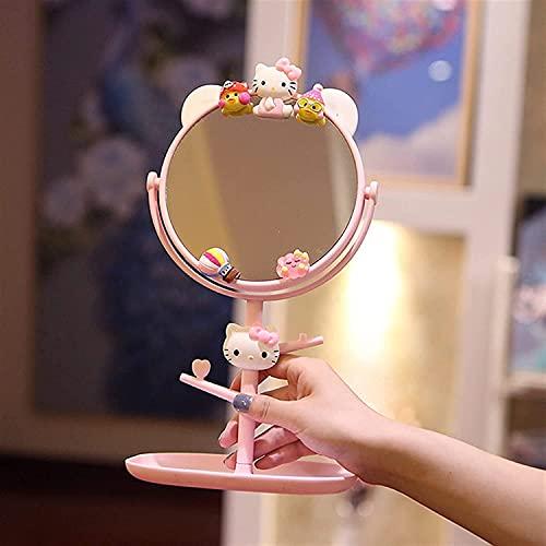 Fisecnoo Espejo de maquillaje INS de dibujos animados de escritorio de maquillaje Espejo de escritorio de princesa, linda niña estudiante vestirse espejo rosa con espejo de almacenamiento (color: C)