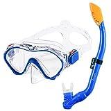 Kids Snorkel Set Dry Top Snorkel Mask with...