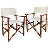 PiuShopping - Juego de 2 sillas de regista plegables de madera de jardín de tejido crudo, con reposabrazos, para exterior,...