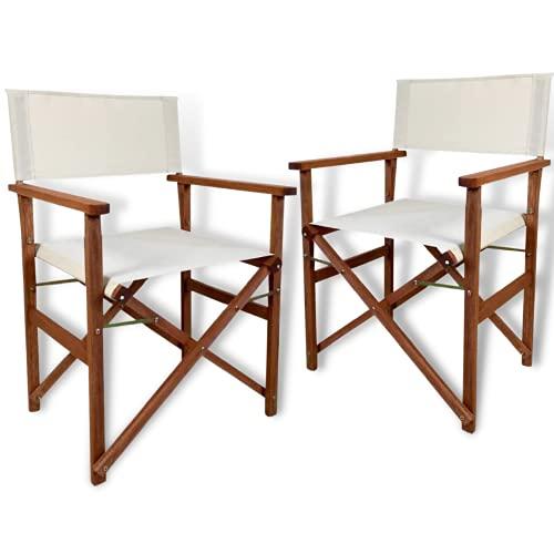 PiuShopping - Juego de 2 sillas de regista plegables de madera de jardín de tejido crudo, con reposabrazos, para exterior, camping, terraza, 49 x 53 x 84 cm
