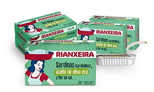 RIANXEIRA Pack de 8 Latas x 81g. de Sardinas (Sardinillas) en Aceite de Oliva Virgen Extra Ecológico y Flor de Sal. Presentación 6-8 piezas.