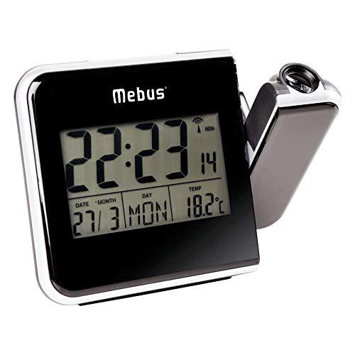 Mebus Funk-Wecker mit Projektion und Thermometer, Kunststoff, Schwarz, normal
