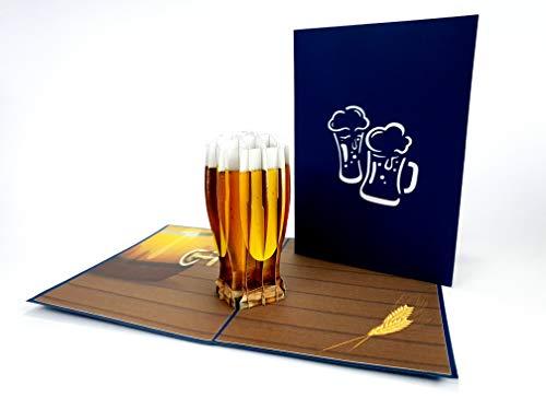 Birra Mug 3D Laser Cut pop up Vintage Compleanno Handmade Auguri Regali Biglietti Auguri Cartoline...