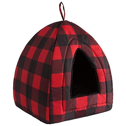 Hollypet Cat Bed Kitten Bed Self-Warming 2-in-1 Foldable Comfortable Igloo Triangle Pet Tent House, Red Square