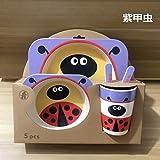 WSHP-plate Teller Speiseteller Besteck Keramik Kinderbesteck Kreative Cartoon Schüssel Teller Löffel Gabel Tasse Grün Gesundheit Fünfteiliges Geschenk Geschirr, Lila Käfer