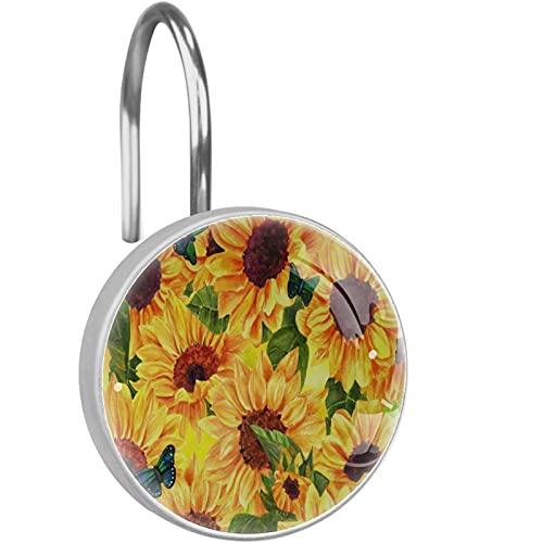 Duschvorhanghaken aus rostfreiem Edelstahl(12 Stück) Duschvorhang dekorative Kleiderbügelringe,Blumen & grünblaue Schmetterlinge