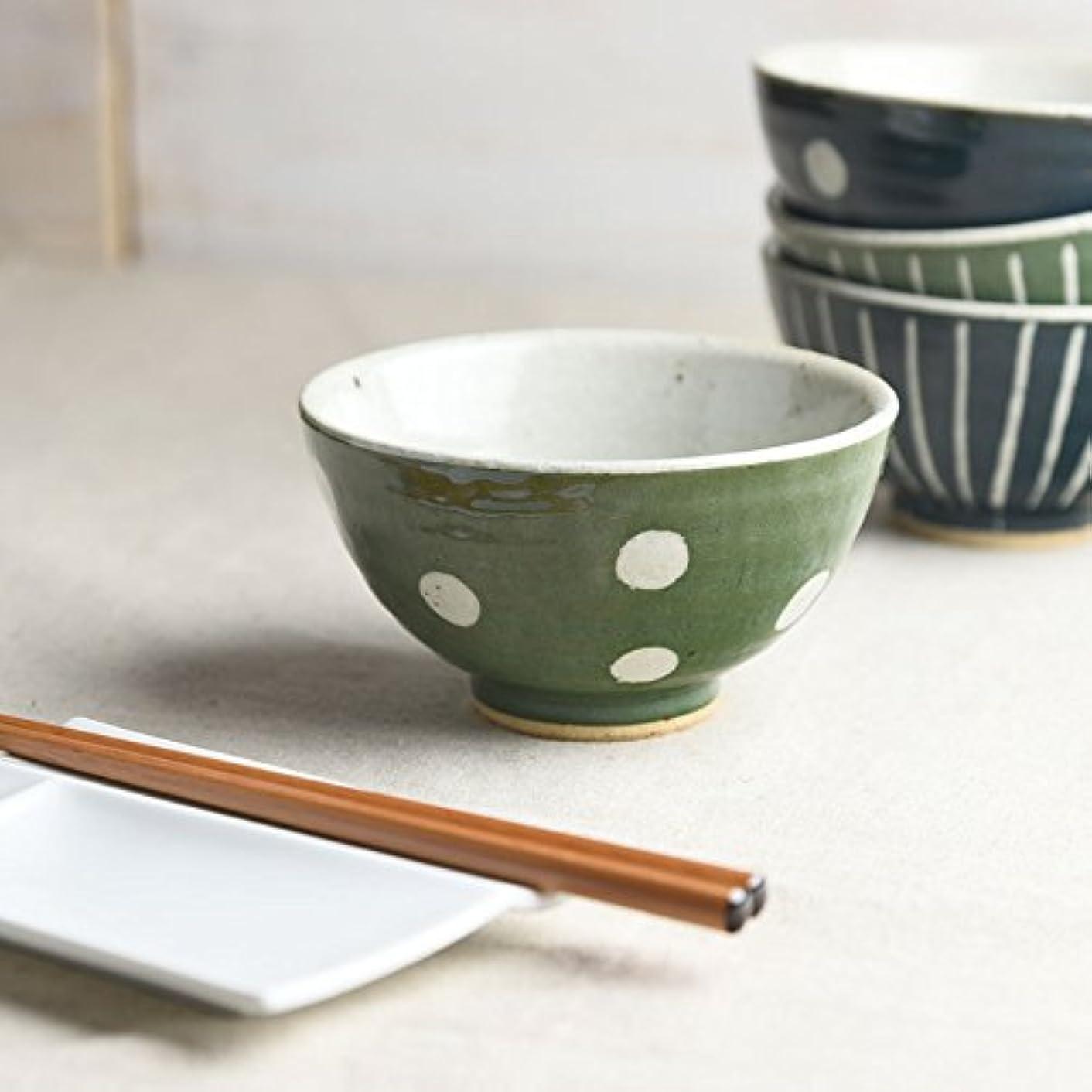 細菌役に立つ節約やまに 手しごと 丸ご飯茶わん みどり 水玉 3816011