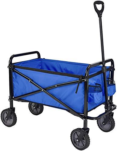 Amazon Basics Zusammenklappbarer Bollerwagen für den Garten, faltbar, mit Abdeckung, für den Außenbereich, Blau