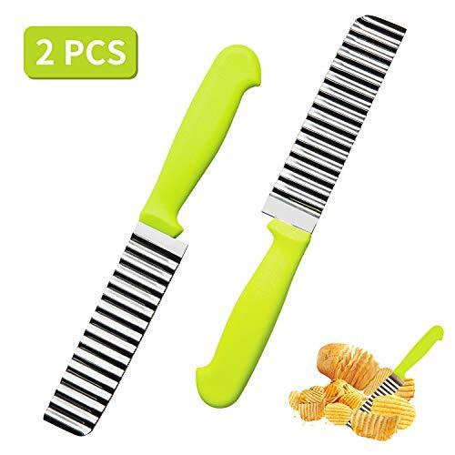 HANGOU Pommes Schneidemesser 2St. Edelstahl-Faltenschneider Wellenmesser Pommes Schneider Küchenutensil mit Wellenschliff Faltenschneider für Kartoffeln, Karotten oder Gemüse