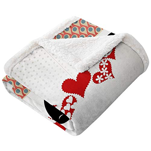 LANQIAO Love Lightweight Blanket Queen and King Bird Couple Kissing Hanging Valentines Heart and Abstract Pattern Flannel Microfiber Blanket Multicolor60'x80'