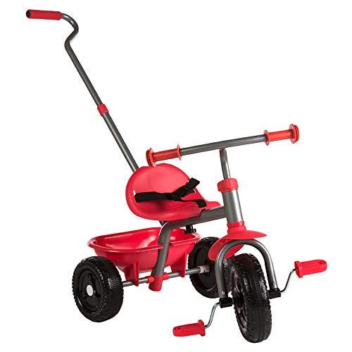 ColorBaby - Triciclo con mango extensible, Color Rojo (43451)