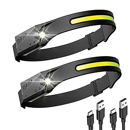 Luz Frontal Cabeza con Pilas Linterna Frontal LED Recargable, con 5 Modos Mini Linterna de Cabeza para Camping, Bicicleta, Pesca, Casco(Excluyendo Batería Adicional)