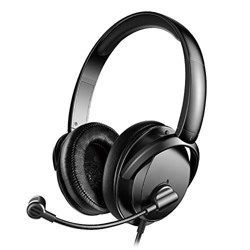QNSQ Casque, Casque Confortable intégré au Bureau de Jeu, Microphone à commutateur 1 Touche, qualité de Son HiFi Ultra Haute définition
