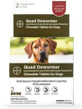 Bayer Animal Health Quad Dewormer for lbs Over Cheap super special 2021 autumn and winter new price Large Dogs 2 45