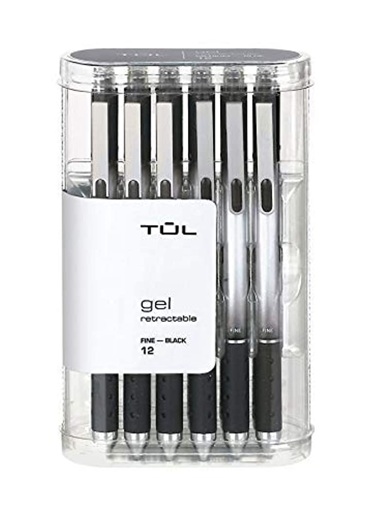 TUL Retractable Gel Pens, Fine Point, 0.5 mm, Gray Barrel, Black Ink, Pack Of 12 Pens