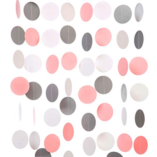 Gray Pink White Paper Garland Circle Dots Party Garland Streamer Backdrop Hanging Decorations, 2.5' in Diameter, 20 Feet in Total
