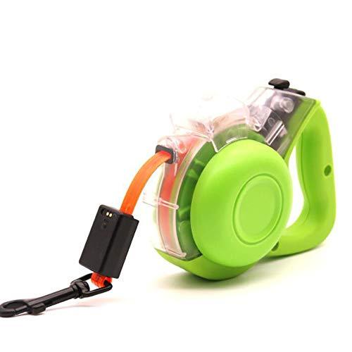 JIAYING Einziehbare Hundeleine Ausziehleine Hundeleinen Roll-Leine Hundeleine Einziehbare Hundeleine, LED-Lichtleiste/Multifunktions-Aufbewahrungsbox/magnetische USB-Aufladung (Color : Green)