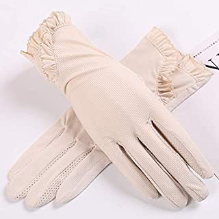 SHENTIANWEI Women's Non-slip Sunscreen Gloves Ice Silk Anti-UV Thin Section Breathable All-female Driving Short Section (Color : Beige, Size : One size-Five pairs)