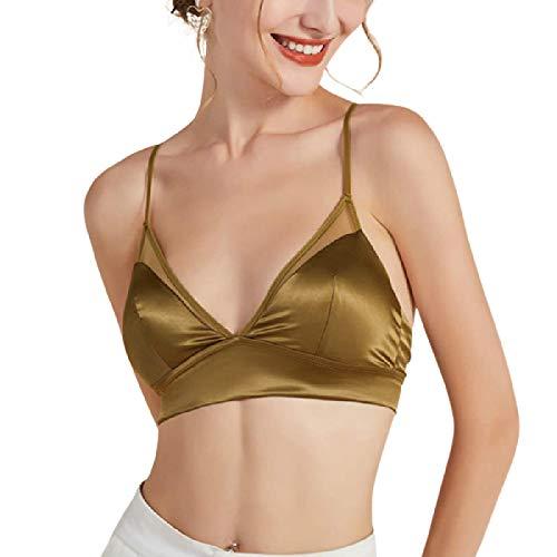 Cwang Sujetador de algodón cómodo sin Espuma, sin Aros, de Encaje, Talla Grande para Mujer,Verde,XL