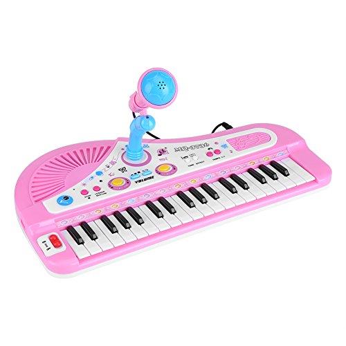 Kinder elektronische piano, 37 toetsen kindertoetsenbord piano speelgoed piano mini elektronische piano pedagogisch speelgoed met microfoon voor baby's en peuters