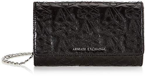 Armani Exchange dames portemonnee met ketting portemonnee, zwart (Nero - Black), 12.5x4x20 cm