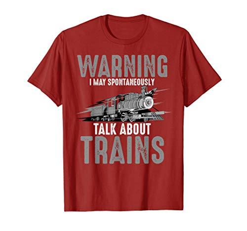 Cute Warning May Spontaneously Talk About Trains Shirt Gift