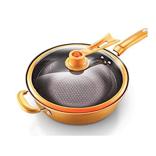 HNSXR Wok sartén antiadherente multifunción olla de hierro de fondo plano cocina cocina cocina cocina cocina gas adecuado para cocinar ollas