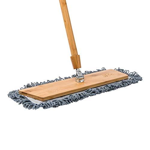 "18"" Natural Bamboo Microfiber Mop for Hardwood Floors | Lightweight Dust Mop | Machine Washable"