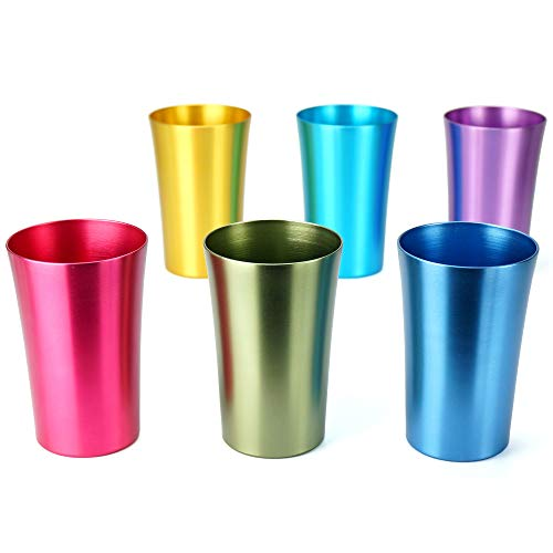 Aluminum Water Tumblers, Set of 6, Different Color, for Children and Adults, Travelling Tumblers, Party Tumblers, Stackable 10oz (SMALL)