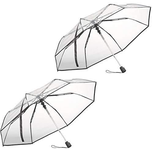 Carlo Milano Schirm transparent: 2er-Set Automatik-Taschenschirm mit transparentem Dach, Ø 100 cm (Regenschirme)