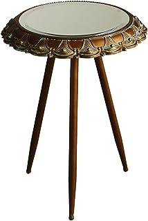 WZHZJ Table d'appoint Salon Loisirs Petite Table Miroir Petite Table Table à thé Table de Dentelle en métal en Fer Rond (S...
