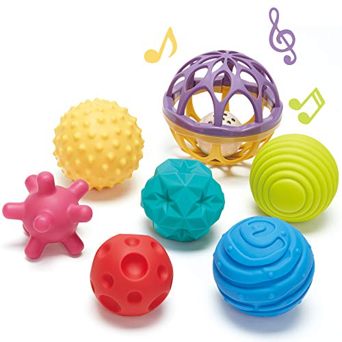 CubicFun Bolas Sensoriales para Bebés Juguetes Bebe 6 Meses a 1 año Multi Textura Pelota Sonajeros Bebe Infantil Pelotas de Masaje Mordedor sin BPA con Sonido, 7 Piezas ⭐