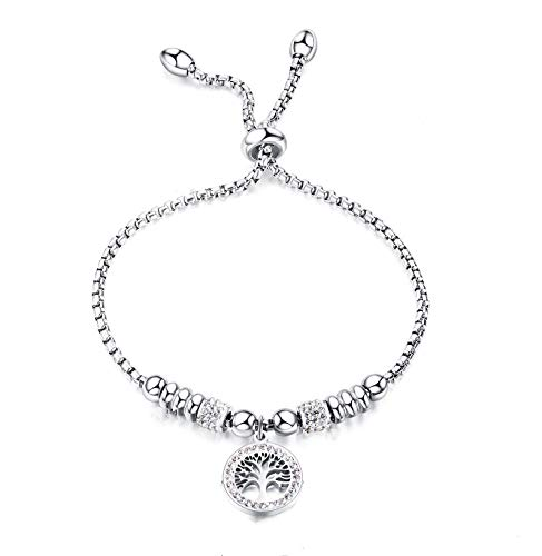 AHOKEI Simple life tree silver-plated zircon shiny charm adjustable 22 cm jewelry bracelet gift for ladies and girls Gift