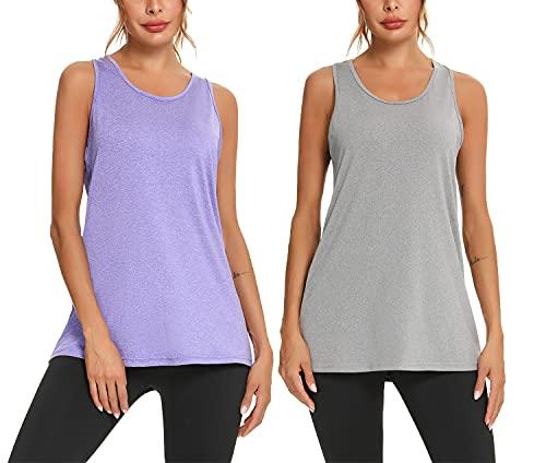 Aibrou Camiseta Sin Mangas de Fitness para Mujer Chaleco Deportivo Tops Camisa de Yoga, Pack de 1/2