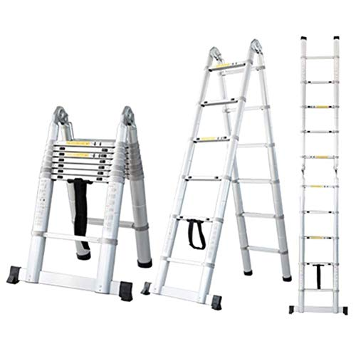 Heavy Duty Telescoping Climb ladder for Home Builder Loft Work Place, Extendable Lichtgewicht Vouwladders Met Stabilizer Antislip Bar, ondersteunt 250 kg (551 lbs) (Maat: 4.4m / 14.4ft) 8bayfa