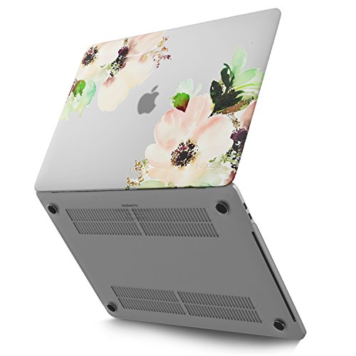 Kuzy - MacBook Pro 15 inch Case 2019 2018 2017 2016 Release A1990 A1707, Hard Plastic Shell Cover for Newest MacBook Pro 15 case with Touch Bar Soft Touch - Frosted-Clear - Flowers