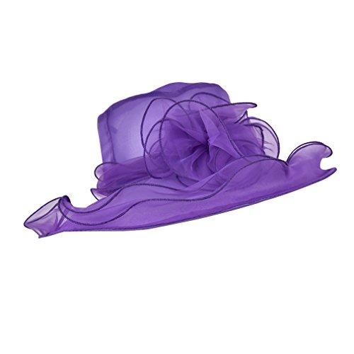 LUCK Adulte Femme Fille Capeline Chapeau Bibi Anti-Soleil Mariage Elégant (Violet)