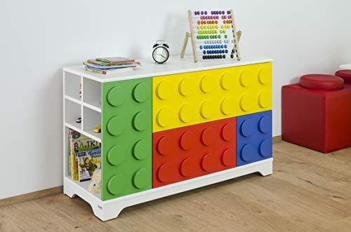 Brickz Cajonera de 120 x 45 x 75 cm, acabado lacado, para fans de Lego.