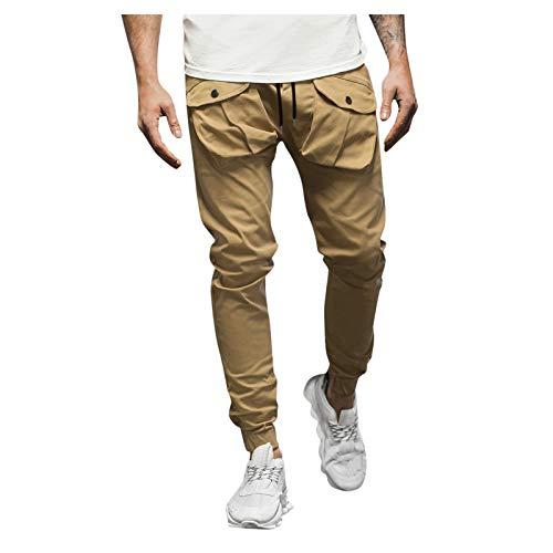 Dasongff Pantalones de chándal para hombre, pantalones de chándal para el tiempo libre, pantalones de chándal, con bolsillos grandes, pantalones de tela, pantalones largos, pantalones chinos