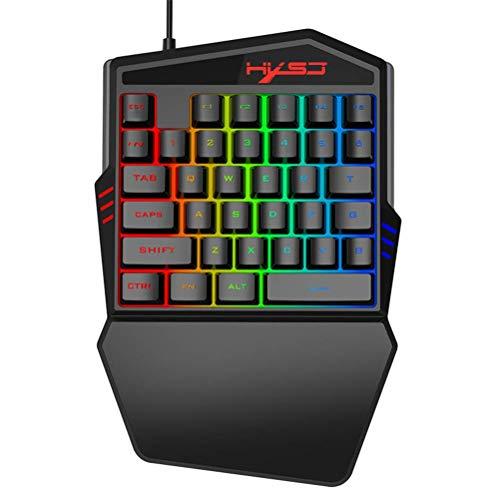 AMITD eenhandig toetsenbord. Draagbare mini-35 toetsen Mechanical Gaming Keyboard Muis/Thron. Met RGB-LED-achtergrondverlichting voor LOL/PUBG/Wow/Dota/OW/Fps spel.