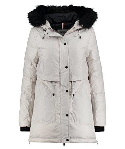 Tommy Jeans Damen Down Parka Lang - Regulär Daunenjacke Jacke Weiß (Wind Chime 424) 14 (Herstellergröße: X-Large)