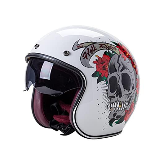 Motocicleta Open Face Classic Casco original Aprobado por el DOT Casco de motocicleta Half Open Face Hombres Mujeres Casco Vintage Scooter Jet Casco Cascos retro Pare Moto Cascos Para