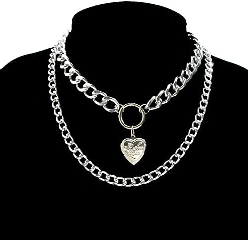 Multi Layer Baroque Thick Chain Necklace Collares Punk Gold Heart Pendant Choker Necklace Festival Couple Jewelry Gift