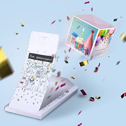 «BOUM!» carte anniversaire explosion confettis, cadeau à effet «WOW!» - Joyeux anniversaire cartes de voeux surprise pour homme femme fille garçon.