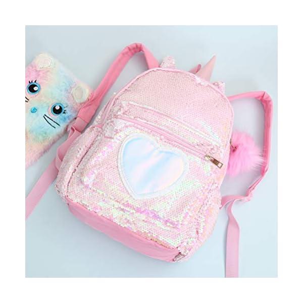 VALICLUD Mochila de lentejuelas reversible de unicornio para niños niñas Mochila escolar con purpurina brillante…
