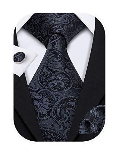 Barry.Wang Designer - Juego de corbata, pañuelo cuadrado para bolsillo y gemelos, para hombre, seda, diseño de Paisley Negro Negro sólido. Talla única